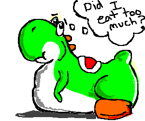 Obese Yoshi Wonders Why Hes So Fat Drawing By Sepia Drawception