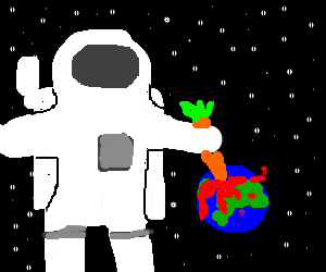 giant astronaut stabs the earth with a carrot