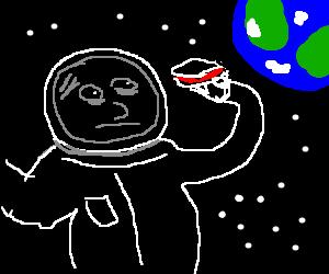 astronaut tries to eat sandwich: helmet disrupts