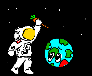 Astronaut stabbing Earth with a carrot