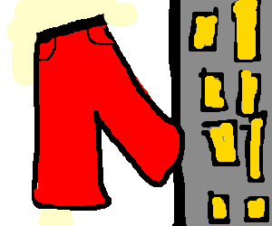 Giant red trousers next to skyscraper