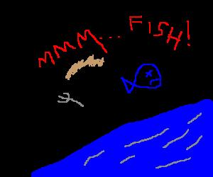 Bear Grylls eats a fish by a river