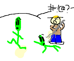 2 friendly aliens being attacked by a farmer