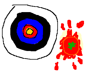 target for arrows next to a squashed tomato