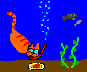 leg-less scuba-diving kitty finds lunch undersea