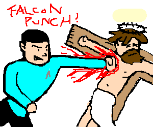 Spock killing Jesus with Falcon Punch!