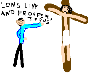 Mr Spock Falcon punches Christ on the cross