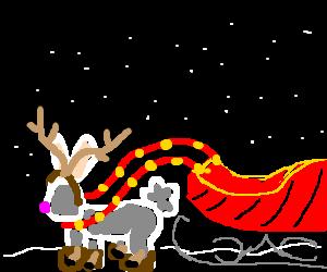 Easter bunny dressed as reindeer, pulling sleigh