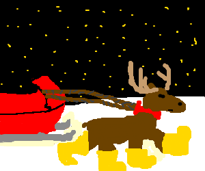 Lone Reindeer wearing bootspulls sleigh at night