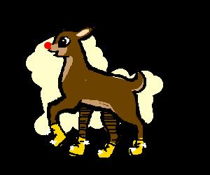 Rudolph wearing golden boots