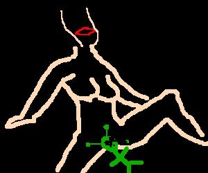 alien object vibrating between thethighs of girl