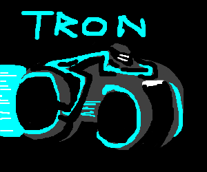 Tron light cycle travelling in the darkness