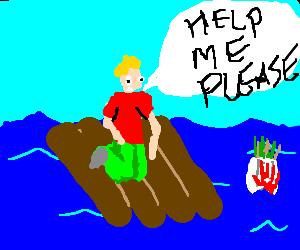boy stuck on raft politely asks for assistance
