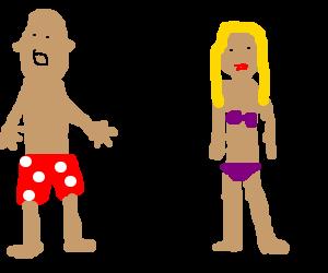 Man in boxers serenades woman in lingerie