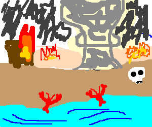 Lobsters emerging from the sea to find wasteland