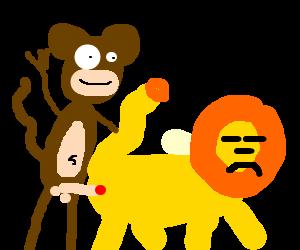 monkey waves while fucking simba from behind
