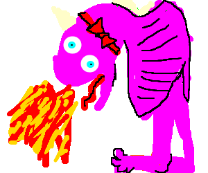 Pink fire-breathing dragon