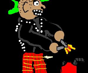 punk rocker lights gas can on fire w flint&steel