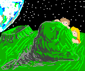 Two children hide behind a moonrock from green