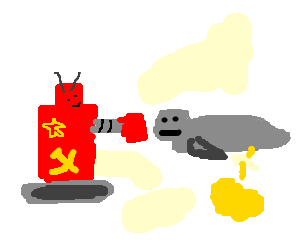 Soviet boxing robot punches seal and it pees.