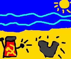 Soviet pepper pot hits heart shape rock on beach