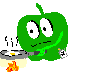 Apple employee frying an egg.