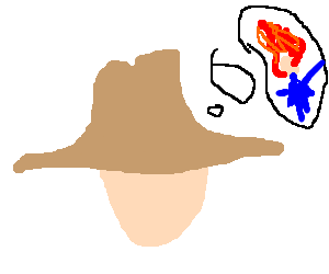 Cowboy thinking about a girl with fire hair