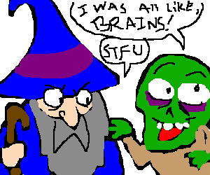 Blue wizard tries to quiet down talkative zombie