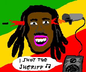 Bob Marley getting shot in the head my a mic