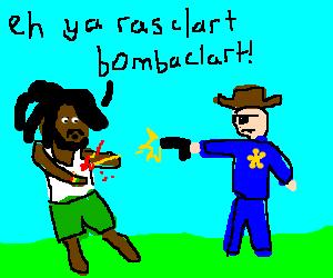 Bob Marley getting shot by I Shot The Sheriff