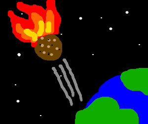 meteor falling from space at a fast pace