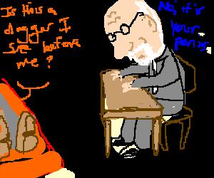 man quoting hamlet to freud