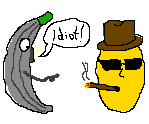 Gray banana man insults gangster lemon