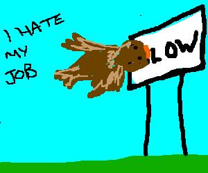 bird that hates work flies into a signpost