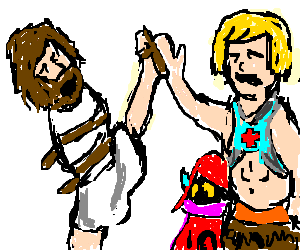 crazy jesus highfives he-man with his foot