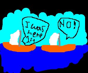 two orange sailboat fighting