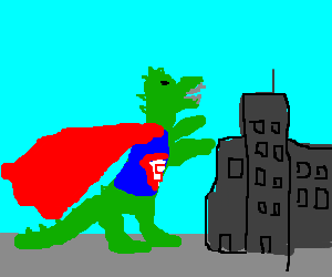 Godzilla dresses up as superman