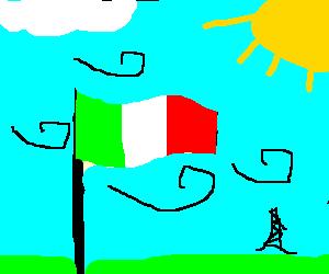 Italian flag heroically waving in spring wind