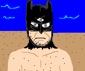 3 eye batman gets naked in the beach