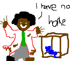 Crazy black hobo sees blue mouse in a box
