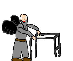 Old man with black wings and grey clothes