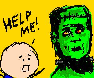 A boy asking Frankenstein for help