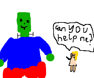Young child asks Frankenstein's Monster for help