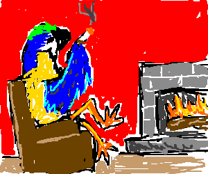 Sophisticated parrot enjoys a smoke by fireplace