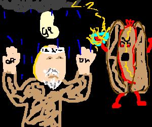 Master Myagi can't dodge hot dog's rain.