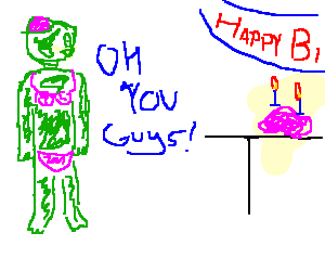 Zombie wearing a bikini on it's birthday