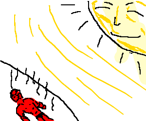 Sunburnt man is furious, sun rather pleased
