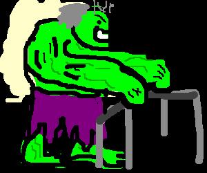Hulk with gray hair and using walker