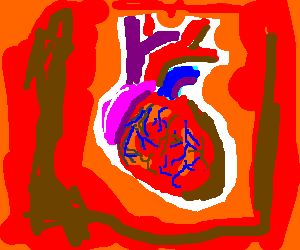 A heart with blood veins
