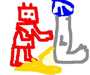 red robot punches peeing seal